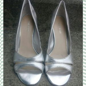 Nine west metallic silver d'orsey stiletto sandal
